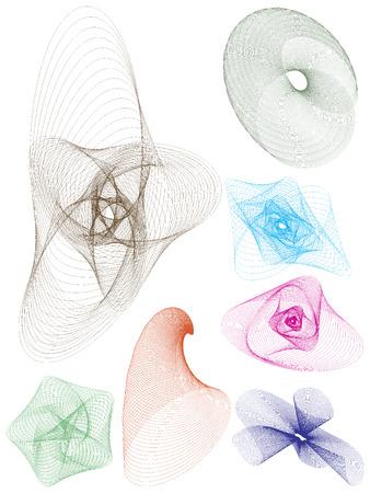 Set van 7 blend curven. Stock Illustratie