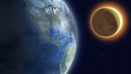 moon eclipse: Solar eclipse. Stock Photo
