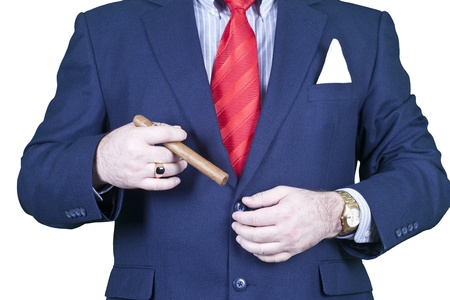 Businessman smoking cigar. photo