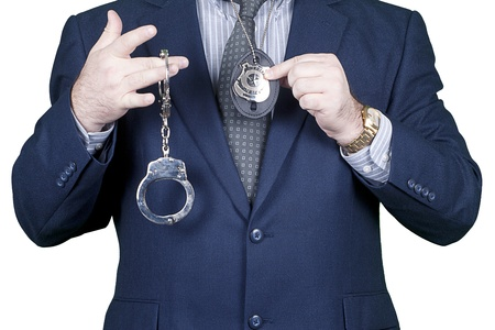 Police office with gun and handcuffs in action Stock Photo - 11515622