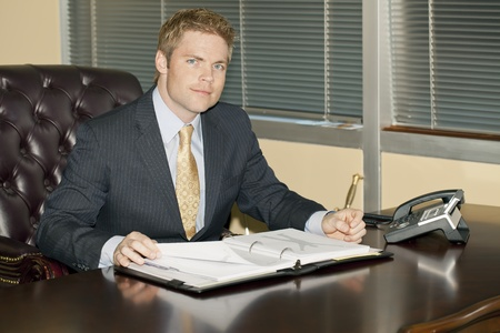 agents: Businessman reading a report Stock Photo
