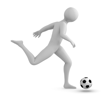Soccer player kicking the ball photo