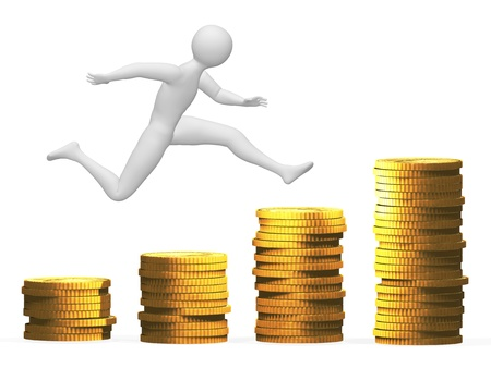 pile of coins: Money jump Stock Photo
