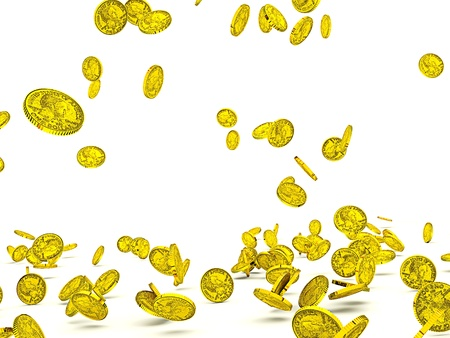 Golden coins flying
