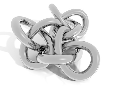 chrome: 3D chrome knot Stock Photo