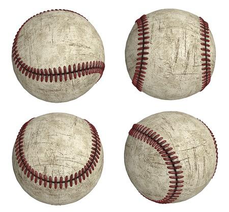 Four grunge baseballs