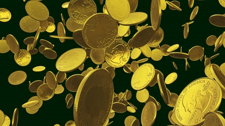 Golden coins flying photo