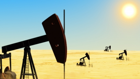 petroleum blue: Oil wells in the desert