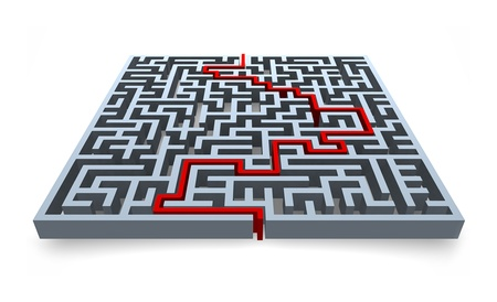 Maze with solution Stock Photo - 15667243