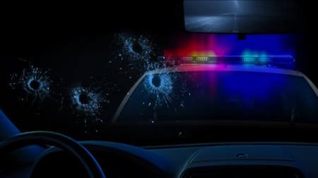 Politie shootout Stockfoto