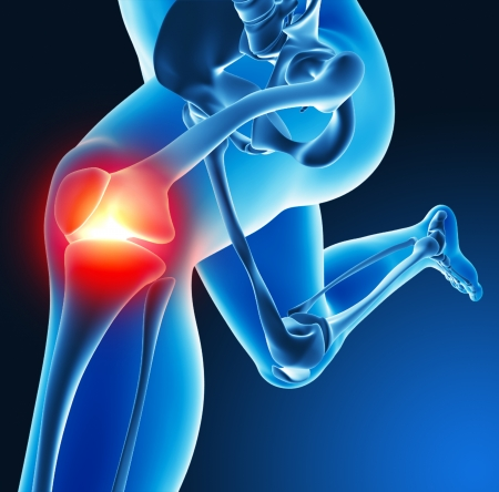 on hands and knees: Leg joint pain Stock Photo