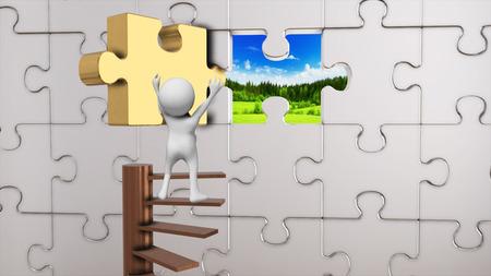 Prison of puzzle pieces escape to heaven photo