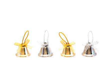 silver bells: Gold and silver bells on white background Stock Photo