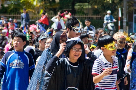 Children disguise oneself as film's charater  on the occasion of Halloween festival hole on by international school. October 30, 2011