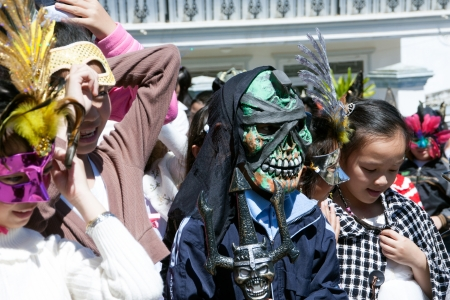 Children disguise oneself as the Death at party on the occasion of Halloween festival hole on by international school  October 30, 2011 Éditoriale