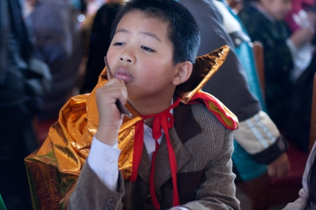 Schoolboy disguise oneself as a Samurai at party on the occasion of Halloween festival hole on by international school  October 30, 2011