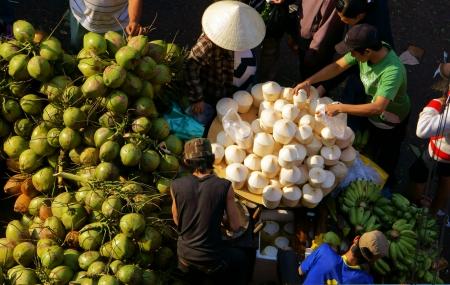dalat: People sell and buy coconut fruit at open air market, Dalat, Viet Nam- February 8, 2013
