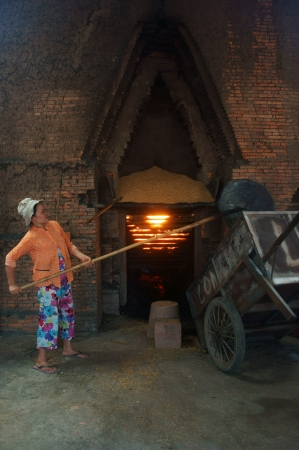 brick kiln: VINH LONG, VIET NAM- JULY 1: Worker  working at brick factory, workwoman shoveling rice husk into oven to make flame in Vinh Long, Viet Nam on July 1, 2013