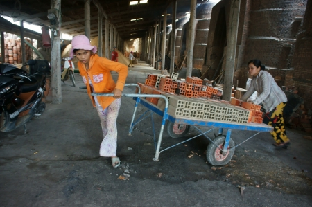workwoman:  VINH LONG, VIET NAM- JULY 1: Worker  working at brick factory, workwoman in hard work, pulling up the rickshaw with full of brick in Vinh Long, Viet Nam on July 1, 2013