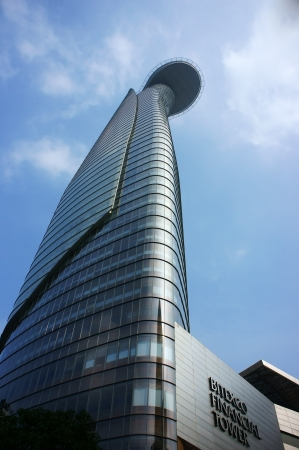 Bitexco Financial Tower   Lotus Tower  with height 262m rise up to sky in Ho Chi Minh, Viet Nam on December 9, 2013