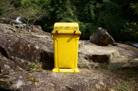recycle area: Dustbin at tourist area to remind  enviromental protection sense, let