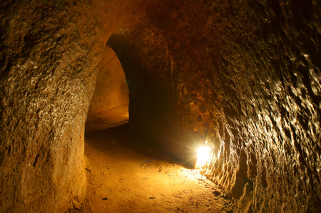 Cu Chi tunnel, historic famous place in Vietnam war, army dig underground dug out to living, now it Stock Photo