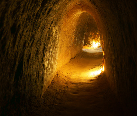 bowels: Cu Chi tunnel, historic famous place in Vietnam war, army dig underground dug out to living, now it Stock Photo