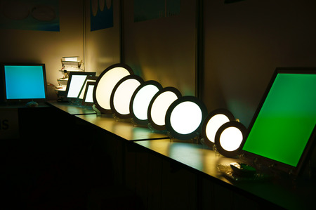 Group of luxury lamp to decor house interior,cirle and square light bulb reflect on surface at fair, eco equipment and energy saving for home