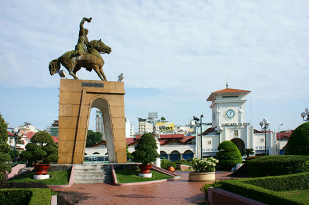 HO CHI MINH , VIETNAM- AUGUST 7   Tran Nguyen Han statue locate at Quach Thi Trang traffic circle, before Ben Thanh market, the ancient statue existed 1975  at center of city, Viet Nam, Aug 7, 2014