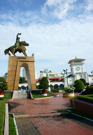 tran: HO CHI MINH , VIETNAM- AUGUST 7   Tran Nguyen Han statue locate at Quach Thi Trang traffic circle, before Ben Thanh market, the ancient statue existed 1975  at center of city, Viet Nam, Aug 7, 2014