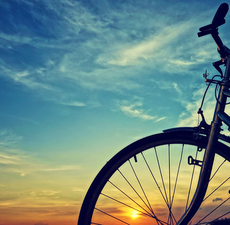 Beautiful close up scene of bicycle at sunset