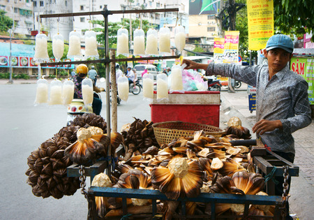 migrant: HO CHI MINH CITY, VIET NAM- SEPT 11: Street vendor sell nipa- a kind of coconut, bunch of fruit on tricycle, this is traditional business for poor migrant labor, Vietnam, Sept 11, 2014 Editorial