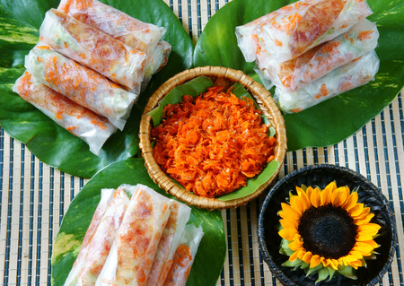 cholesterol free: Vietnamese food, bo bia is street food, snack that delicious, cholesterol free, make from dried small shrimp, vegetables, sausage, peanut in rice paper roll, sauce, Bobia is popular snack in Vietnam
