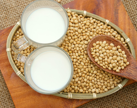 max: Soybean name Glycine max, Fabaceae family, rich protein, acid amin, vitamin, a nutrition product, to process soymilk, this soy milk supply collagen, estrogen for woman, a kind delicious beverage Stock Photo