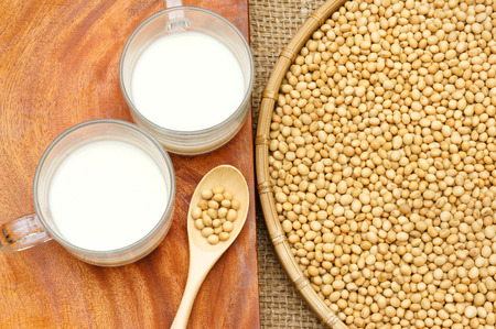 soymilk: Soybean name Glycine max, Fabaceae family, rich protein, acid amin, vitamin, a nutrition product, to process soymilk, this soy milk supply collagen, estrogen for woman, a kind delicious beverage Stock Photo