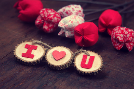 i love u: Valentine background, amazing vintage style, handmade flower, I love you message on wooden,  purple pink and red color, Valentine day is the day for couple, they give lovely gift for lover Stock Photo