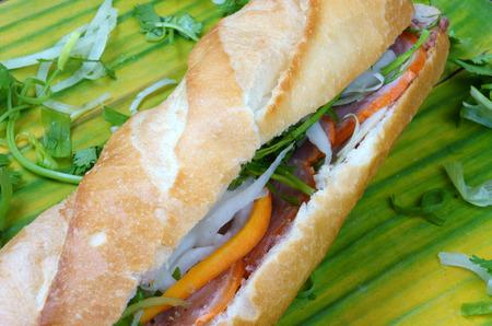 Vietnamese food, banh mi thit nguoi- is famous, popular Vietnam dish, bread fiiled with slice pork, pate, Vietnamese sausage and vegetable as: carrot, daikon, scallion. it also name banh mi Saigon