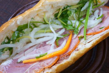 vietnamese food: Vietnamese food, banh mi thit nguoi- is famous, popular Vietnam dish, bread fiiled with slice pork, pate, Vietnamese sausage and vegetable as: carrot, daikon, scallion. it also name banh mi Saigon
