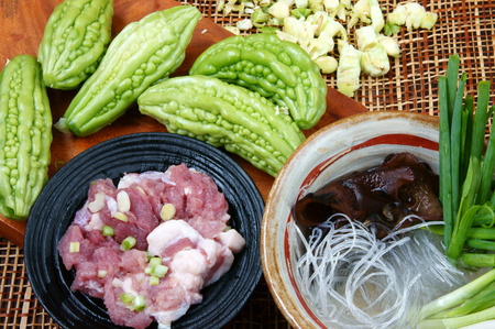 anti season: Vietnamese food, soup of bitter melon stuffed with ground meat, a nutrition, popular dish in Vietnam meal, bitter gourd rich vitamin, can anti diabetes, season with spring onion, peziza.