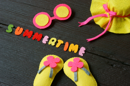 star fish: Summer background with handmade, colorful sandal, star fish, summertime is hot season, time for beach travel