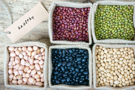 fibrous: Collection of grain, green bean, red bean, soybean, black bean in bag, cereal product is healthy food, nutrition eating and fibre food