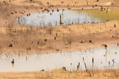 source d eau: Hot source d'eau épuisement fond du lac d'été est devenu la sécurité de l'eau des terres de la sécheresse est un problème environnement des effets du changement climatique mondial font catastrophe