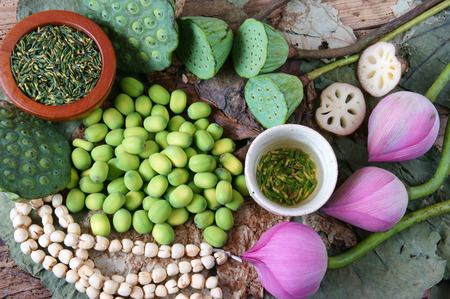color: Collection of lotus, pink lotus flower, green seed, white lotus seed in fresh and dry, herbal tea of this flora, with amazing, abstract concept in vibrant color, this food make healthy , good sleep