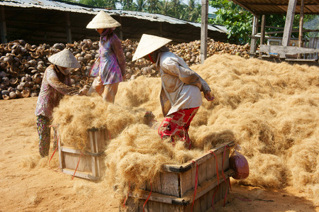 1 and group: BEN TRE, VIET NAM- JUNE 1: Group of Asian worker work hard at coconut fiber trade village, Vietnamese woman working in dust, this is material area from coir of Mekong Delta, Vietnam, June 1, 2015