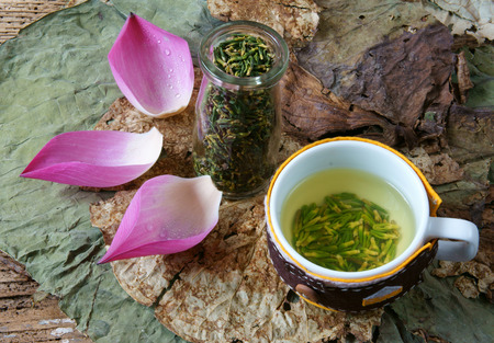 herb tea: Collection of lotus, pink lotus flower, green seed, white lotus seed in fresh and dry, herbal tea of this flora, with amazing, abstract concept in vibrant color, this food make healthy , good sleep