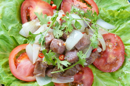 lac: Vietnamese food, bo luc lac, nutrition and delicious eating, beef fry with spice, onion, garlic, eat with salad, tomato, cooked rice
