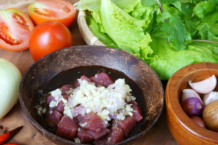 vietnamese food: Vietnamese food, bo luc lac, nutrition and delicious eating, beef fry with spice, onion, garlic, eat with salad, tomato, cooked rice
