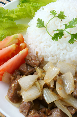 cooked rice: Vietnamese food, bo luc lac, nutrition and delicious eating, beef fry with spice, onion, garlic, eat with salad, tomato, cooked rice