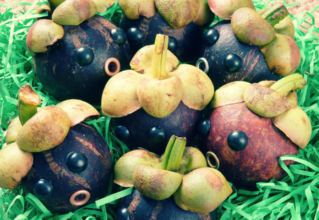 Amazing background with funny idea, impersonation, mangosteen with worried, anxious, humorous face, contrast among beauty look with rotten insside