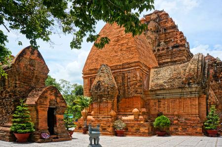 NHA TRANG, VIET NAM- AUG 25: Ponagar tower, ancient temple, call thap ba po nagar or Po Inu Nagar, fammous religious architect for Nhatrang travel, with cham culture from stone, Vietnam, Aug 25, 2015 Editorial